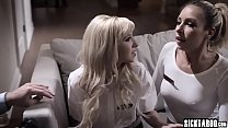 Two wet blonde girls banged in the threesome wi...