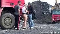 Hot blonde girl fucked in the middle of a const...
