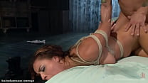 Master Mr Pete spanks tied and gagged hot brune...