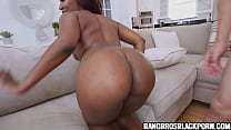 Ebony girl with a great ass gets boned by a big...
