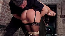 Gagged brunette beauty gets throat banged and s...