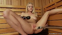 Pretty solo blonde babe takes fucking machine in her shaved pussy while vibrates clit to orgasm Thumbnail