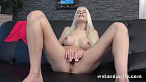 Blonde babe Lena Love can't wait to get her fin...