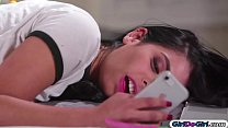 Gina Valentina rubs on a lingerie pic of her cl...