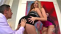 Emma Leigh and Lexi Lowe share a cock and balls after a party's Thumb