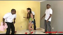 Teen babe giving a blowjob while getting her as...
