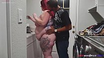 Watch redhead bbw finds out that doing laundry with nothing on is fastest way to get a big black cock in her throat preview
