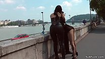 Hot green haired Euro slave Lola in lingerie pu...