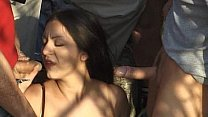Public nudity and DP with brunette gangbanged Thumbnail