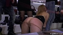 Fully naked gorgeous bondage in crowded boutique disgraced and fucked in group Thumbnail
