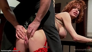 Bound on the floor huge fake tits redhead MILF trainee Veronica Avluv in lingerie gets pussy fucked then ass whipped and cummed by big cock gimp Owen Gray