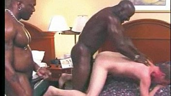 Two big blacks let twink suck their cocks