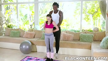 Tiny teen Aften Opal has always had fantasies of pleasing a big black cock, and as her trainer pushes her to have a great workout