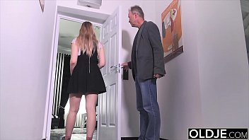 Step daddy fucks this young blonde and cums in her mouth she swallows the load