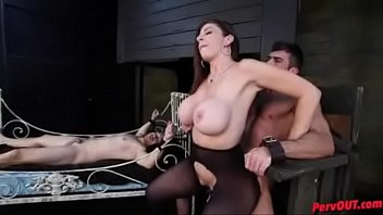 Sara Jay keeps her two sex slaves chained for femdom fun