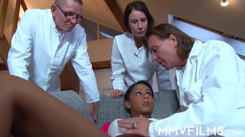 3 Horny doctors come and inspect a y.'s tight pussy