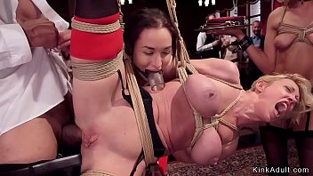 Three slaves Gabriella Paltrova and Sydney Cole and huge tits Milf Dee Williams are submissive hotties who got tormented and disciplined and anal fucked by big dicks in bdsm bruch party