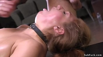 Huge tits slave Skylar Snow in bondage on her knees rides vibrator then master whips her and fucks her