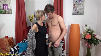 skinny extreme sexy granny gets rough and deep fucked by her big cock stepgrandson