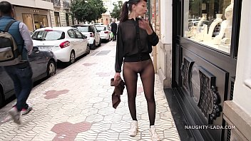 Naughty Lada wearing tights only in the city