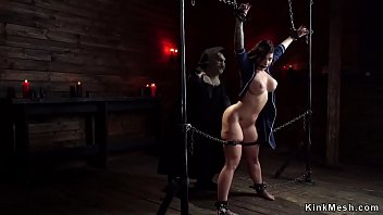 Huge tits brunette paeg babe gets pussy fingered and ass spanked then fucked with dick on a stick in device bondage