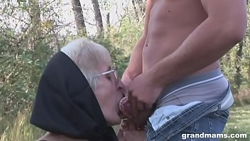 weird granny takes teeth out to suck cock