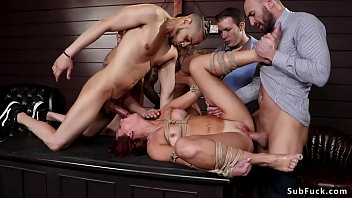 Watch Redhead_professor_Holly_Lace_surrounded_by_her_horny_students_and_put_in_rope_bondage_then_big_cock_studs_licked_and_double_penetration_fucked_her preview