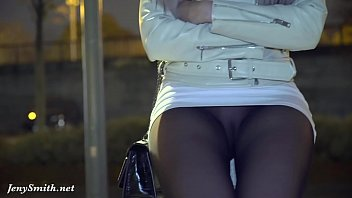 Beautiful woman wearing pantyhose with no panties in public. Very hot video!