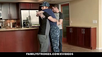 FamilyStrokes - Horny Military MILF FUcked by Step son