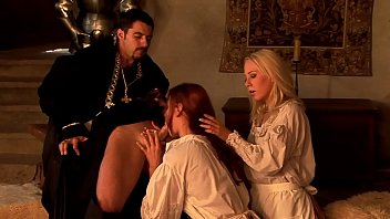 Threesome hardcore sex in the old times when the landlord said to suck his dick, you had to suck his dick obviously