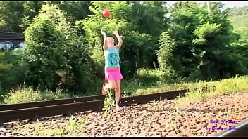 The little girl plays ball near the tracks and her stepfather scolds her and puts his cock in her mouth