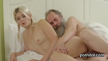 Senior teacher pleases and reams undressed adorable sweetie