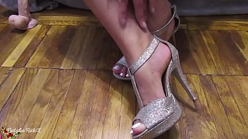 Babe Trying on Shoes and Footjob Dildo - Fetish