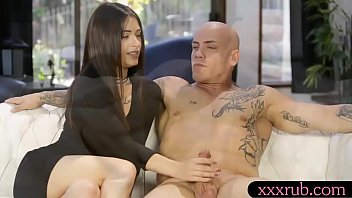 Brunette girl gives man a relaxing backrub before getting her shaved pussy pounded