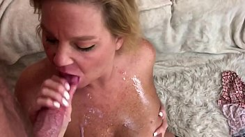 Mature Blonde Gets Cum Shot in her mouth & on her face