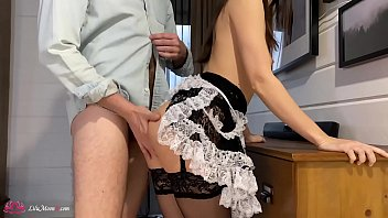 Lilu Moon Suck Cock and Hard Rough Sex - Cum on Big Ass - Maid Cosplay