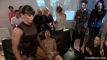 Brunette Asian slut Angelina Chung for the first time gets public by mistress Ariel X and groped and hard fucked in warehouse