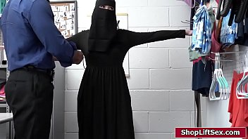 Small tits blonde pretends to be religious to hide stolen items behind a hijab.The officer stripsearches her and makes her give him a bj and bangs her