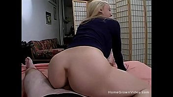 Young blonde amateur bent over and fucked doggystyle on the bed