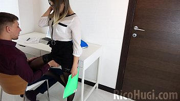 Secretary Sucking my Huge Cock and Cum in Mouth - sex at work
