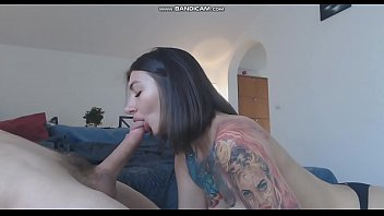 Cute brunette with tattoo doing blowjob on cam - watch more on protrust.ru