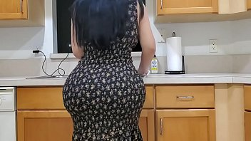 Latina mom fucks her Grounded bored stepson on the kitchen counter