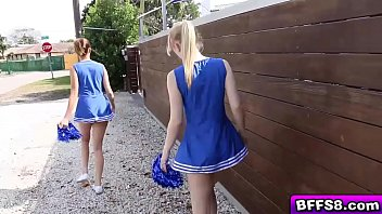 Sexy babe cheerleaders give their coach a private try out