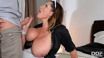 Watch voluptuous maid Laura Orsolya ride that big fat cock with her asshole