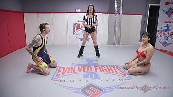 Evolved Fights - Mia Little winner fucks loser naked wrestling fight has a strap-on to a. the dude with at
