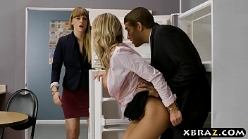 Clumsy intern with big tits fucks her boss in the office