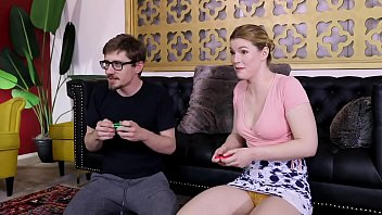 Gamer Girl Ella Nova Mixed Nude Wrestling Fight against a guy jerking his cock while facesitting