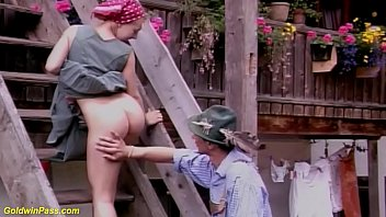 cute big boob german farmer daughter gets rough outdoor anal banged by her big cock step brother