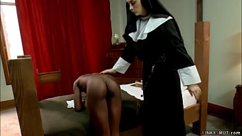 Hot small tits ebony Ana Foxxx joins the nun hood where big boobs brunette lesbian nun Chanel Preston punished and paddled and fucked her
