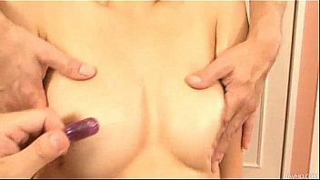 Risa loves having her furry muff slicked down with oil and fingered by two guys